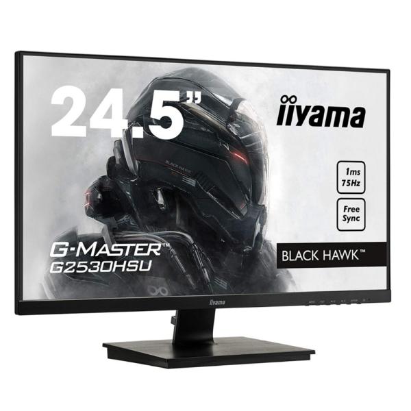 "iiyama G-MASTER G2530HSU-B1 24.5"" diagonal Full HD LED LCD Monitor Display, 1920 x 1080 Native resolution @75Hz (2.1 megapixel Full HD, HDMI&DisplayPort), TN LED, matte finish Panel, 1 Year Warranty"